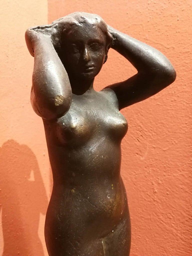 Quinto Martini, Nude, first half 20th century, bronze - Gold Nude Sculpture by Quinto Martini