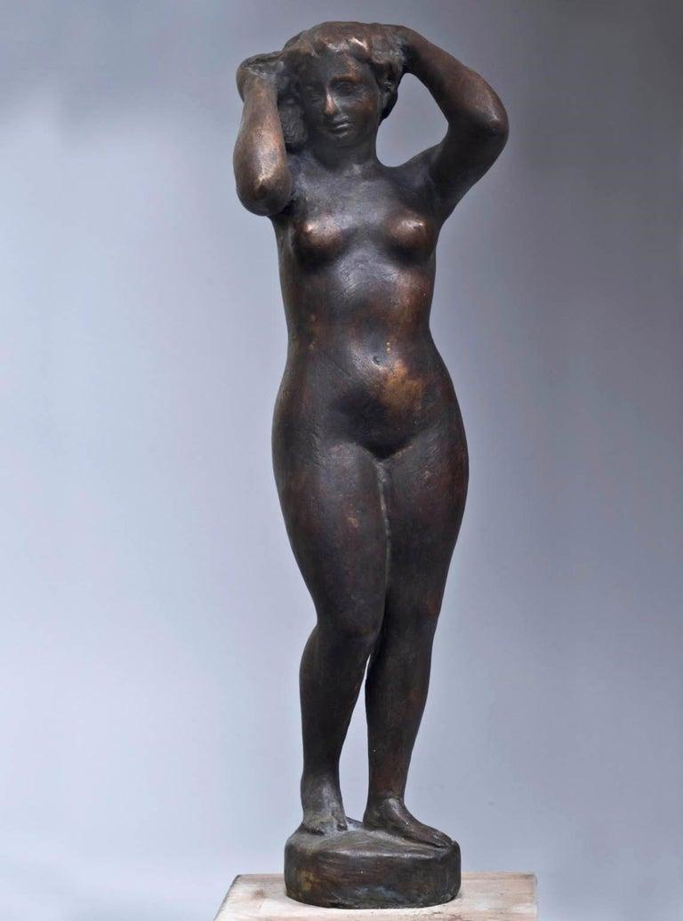 Quinto Martini, Nude, first half 20th century, bronze - Sculpture by Quinto Martini