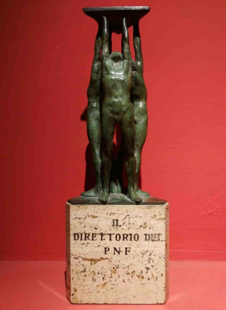 Giandomenico De Marchis, Athletes, 1930ies, bronze and travertine, signed - Sculpture by Giandomenico De Marchis