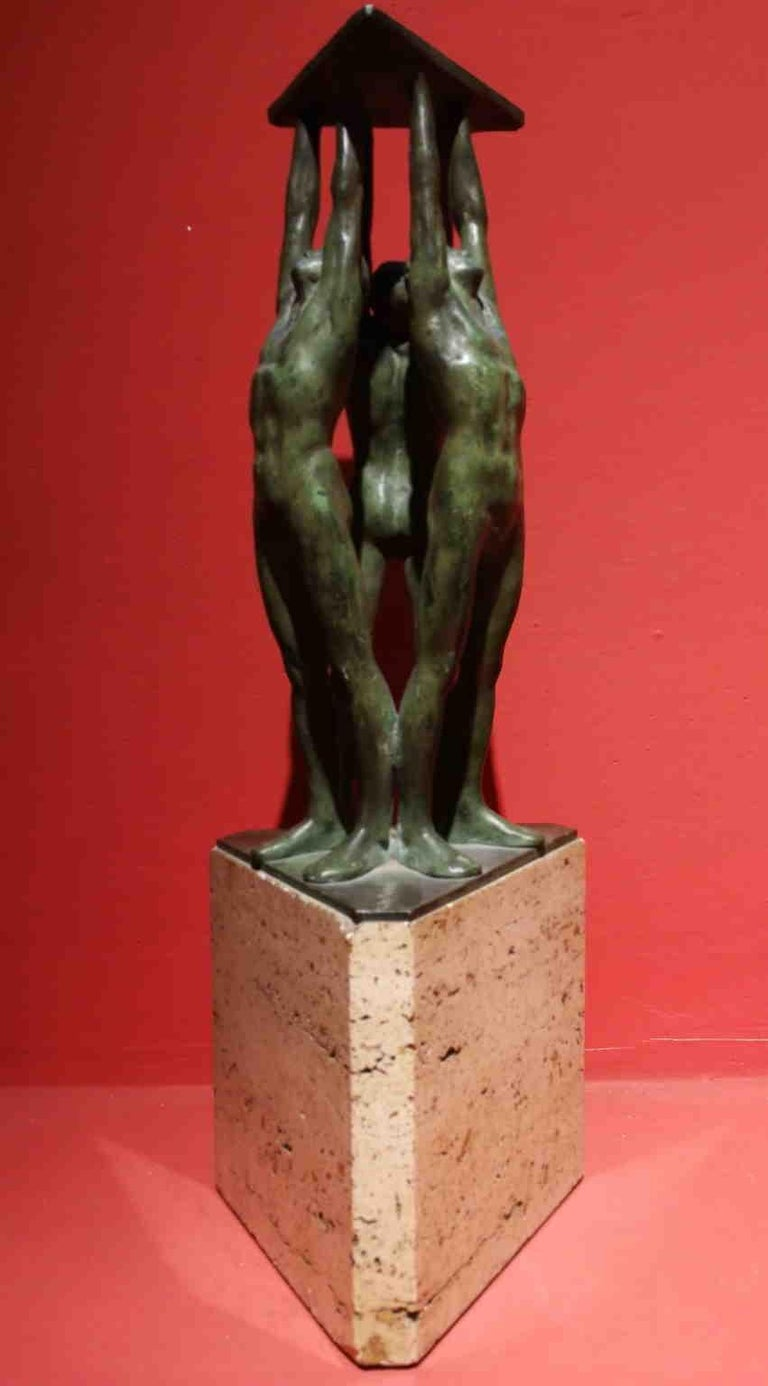 Giandomenico De Marchis, Athletes, 1930ies, bronze and travertine, signed For Sale 5