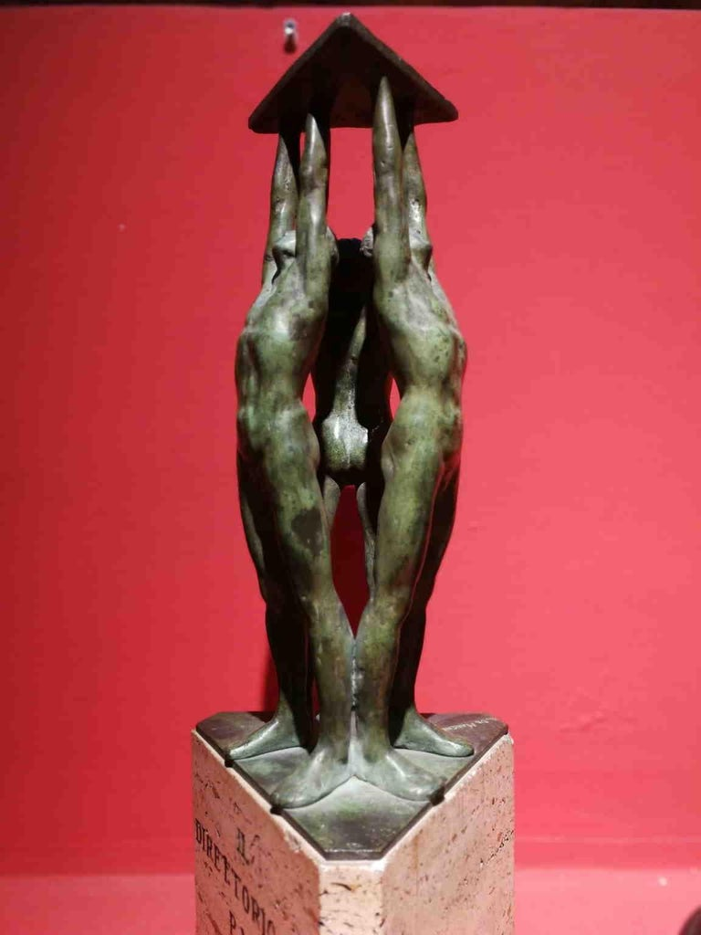 Giandomenico De Marchis, Athletes, 1930ies, bronze and travertine, signed For Sale 1