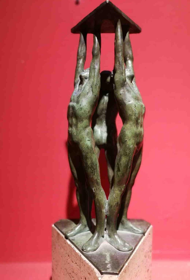 Giandomenico De Marchis, Athletes, 1930ies, bronze and travertine, signed For Sale 6