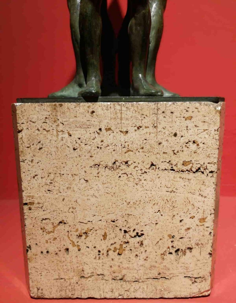 Giandomenico De Marchis, Athletes, 1930ies, bronze and travertine, signed For Sale 2