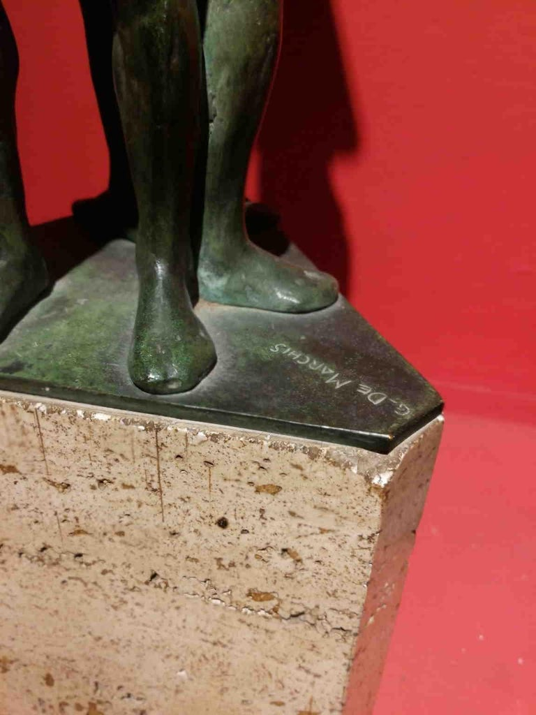 Giandomenico De Marchis, Athletes, 1930ies, bronze and travertine, signed For Sale 7