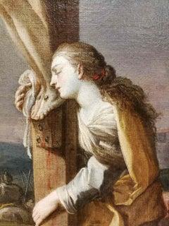 Rococo Neapolitan Crucifixion Religious Painting 18 century oil canvas