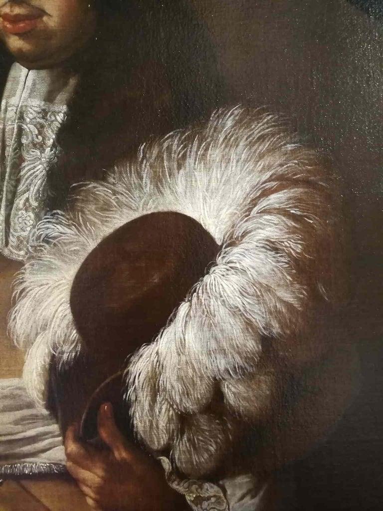 Carlo Ceresa attr., Portrait of a gentleman, half of the XVII, oil on canvas - Black Portrait Painting by Carlo Ceresa (attr.)