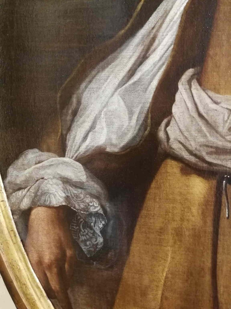 The painting represents the portrait of a young gentleman from the late XVII century, stylishly and modish dressed. The figure is shown perfectly placed in space; the volume of the figure is depicted with great competence, so the body appears