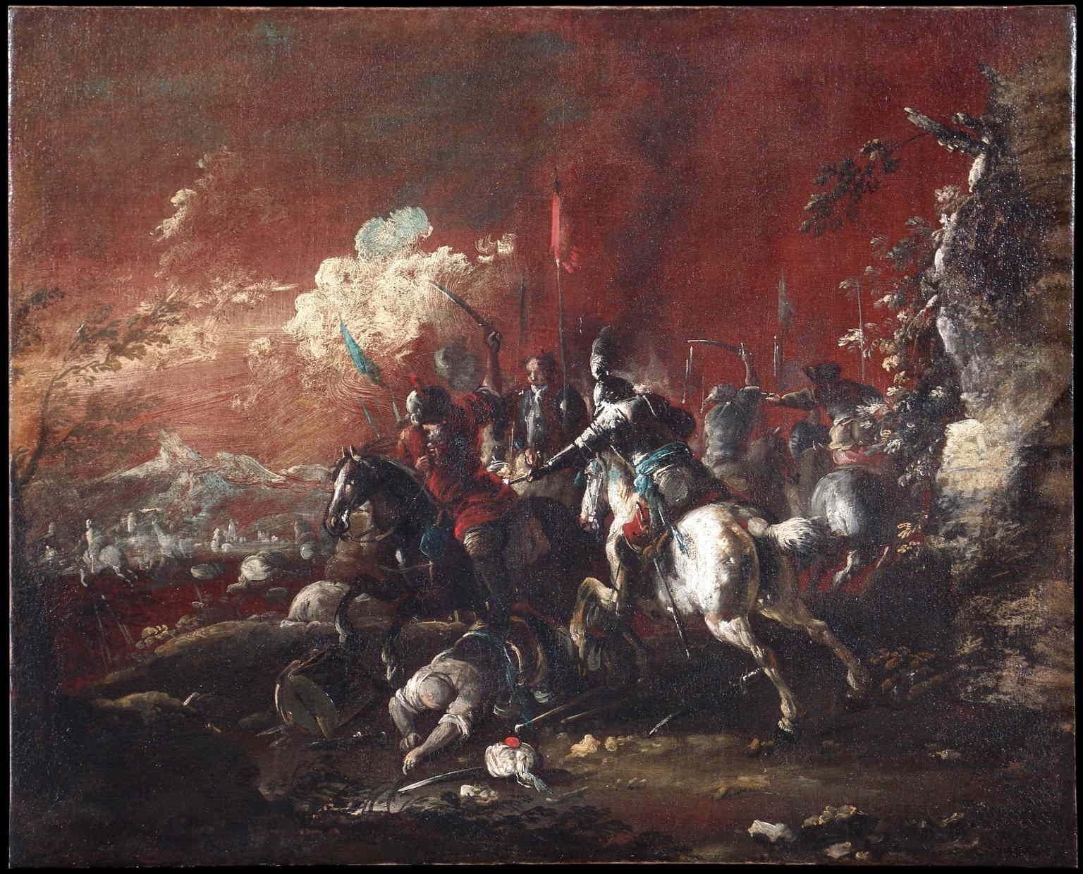 Matteo Stom, Battle between turkish and christian knights, XVII, oil on canvas