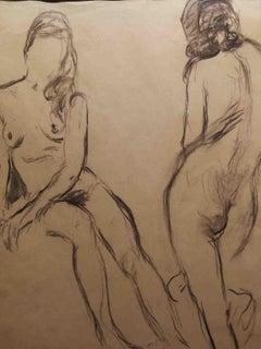 Mario Cavaglieri, Female Nude, early XX century, pencil on paper, signed