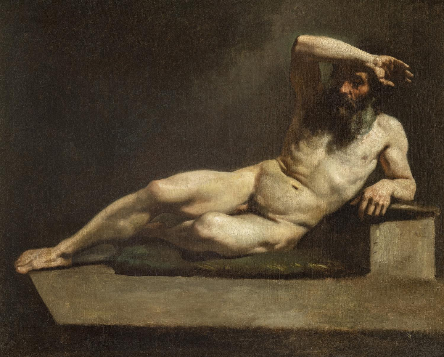 Michele Cammarano Old Male Nude Portrait Painting 1860s Oil canvas