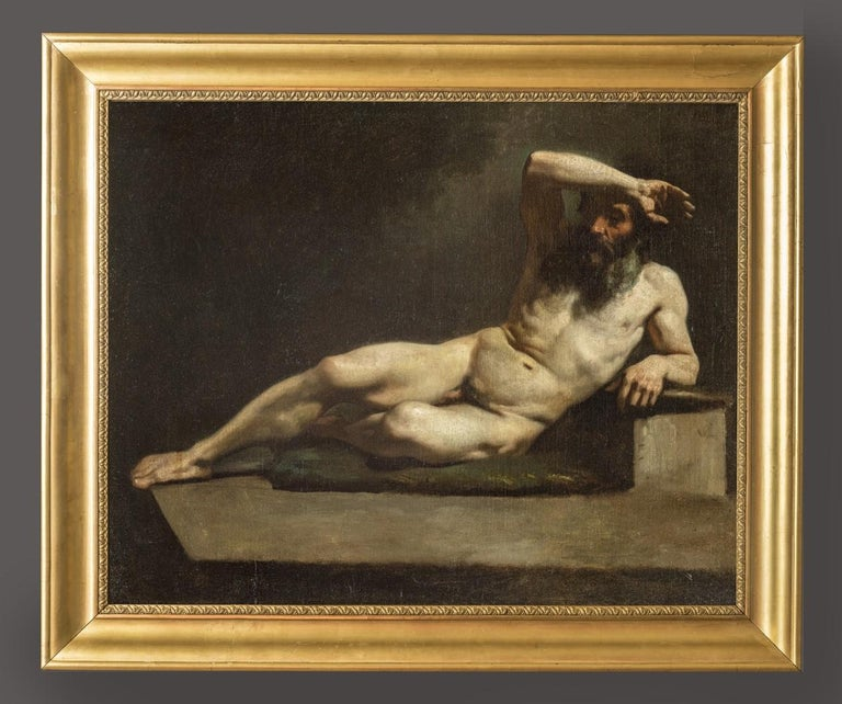 MICHELE CAMMARANO, Male Nude, 1860 ca, Oil on canvas - Painting by Michele Cammarano