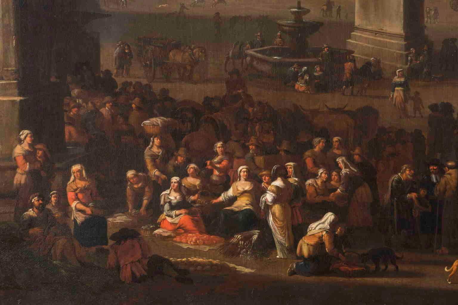 Dutch Bamboccianti Jacob van Huchtenburg Rome Market  1674 Oil canvas