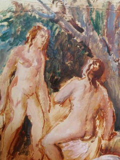Felice Carena, The bathers, 1930-1940s, watercolor on paper, signed