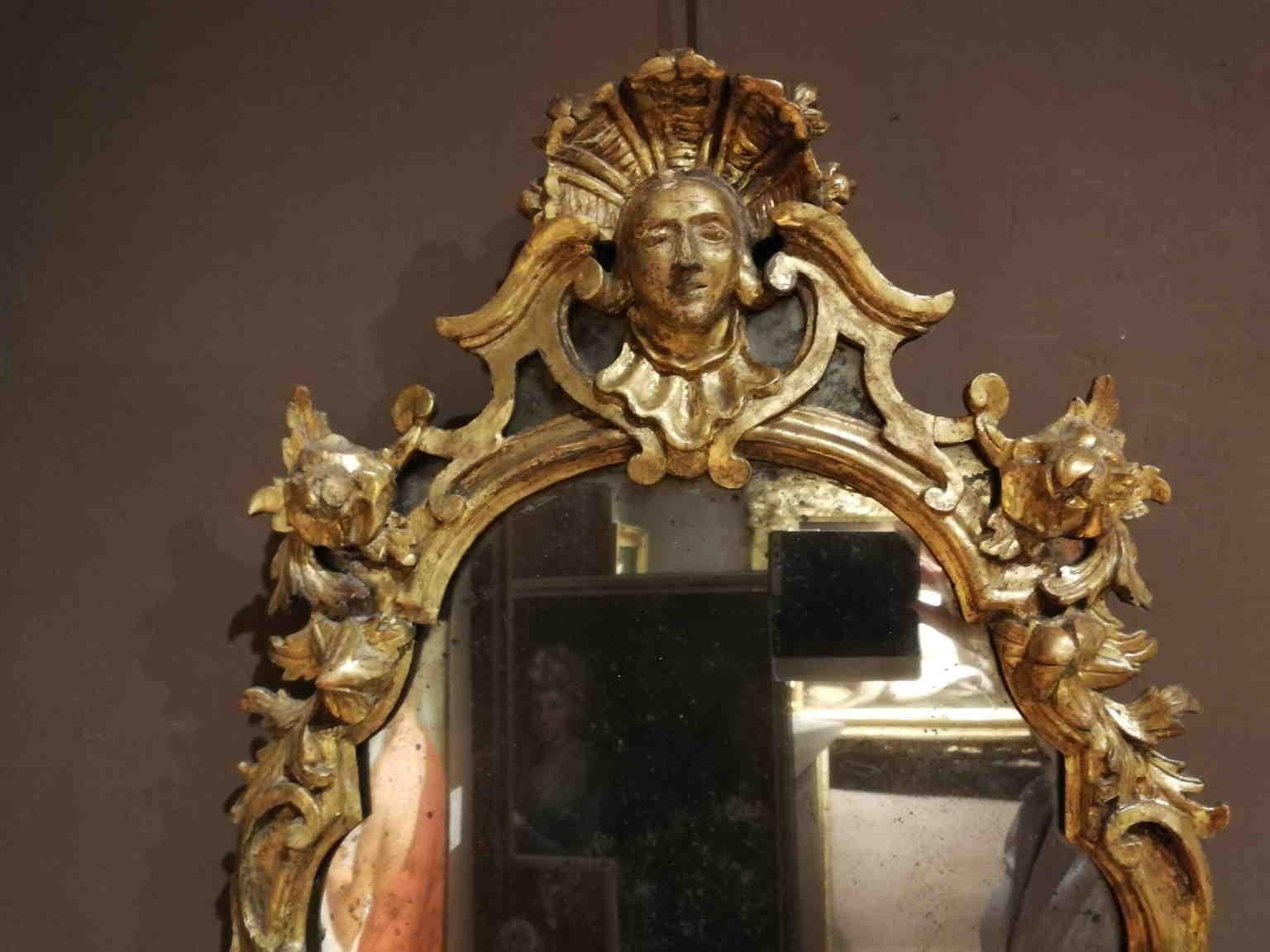 Tuscan Rococo mirrors gilded carved wood glass