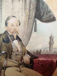Egisto Niccheri, Portrait of the Marquis Uguccioni, 19th, tempera and watercolor