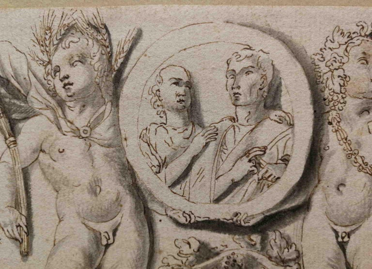 Italian artist, frieze with putti and clipeus, 19th, india ink - Other Art Style Art by Unknown