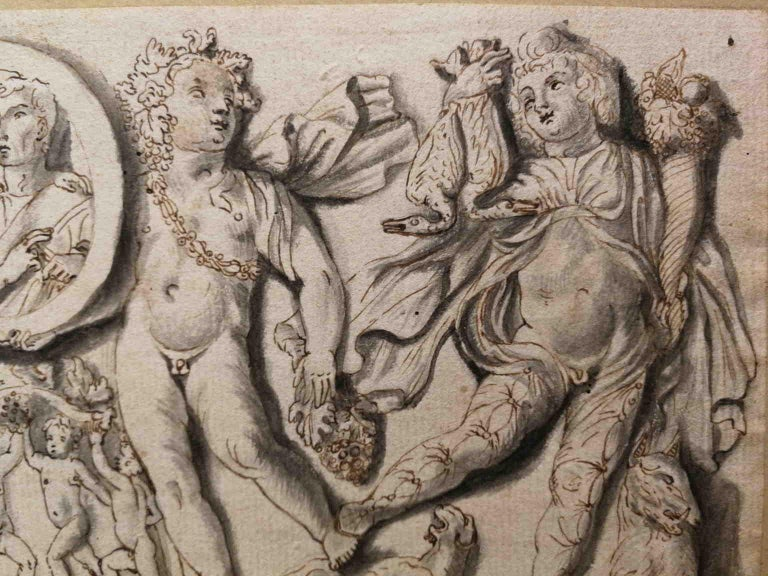 Unknown Animal Art - Italian artist, frieze with putti and clipeus, 19th, india ink