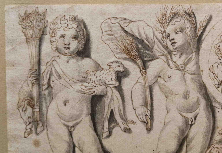 Italian artist, frieze with putti and clipeus, 19th, india ink For Sale 2