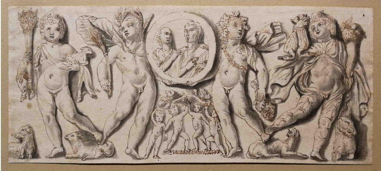 Italian artist, frieze with putti and clipeus, 19th, india ink - Art by Unknown