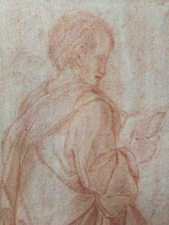 Domenico Del Frate, kneeling figure, end of 18th, sanguine on paper, signed