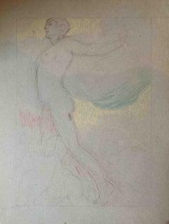 Marcello Dudovich (attr.), Allegorical Figure, 1930 ca, colored pencils on paper