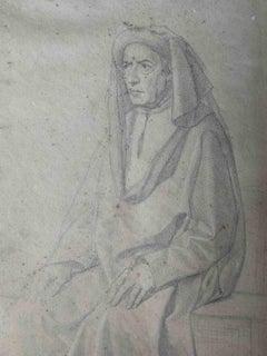 Cristiano Banti, Portrait of Pier Soderini, early 19th, pencil on paper