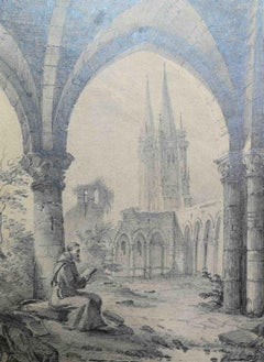 Luigia Orsi, view of the Koln cathedral, 19th, pencil on paper, signed