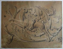 Italian artist, Study for a frieze with a dog, half 19th, ink and white lead