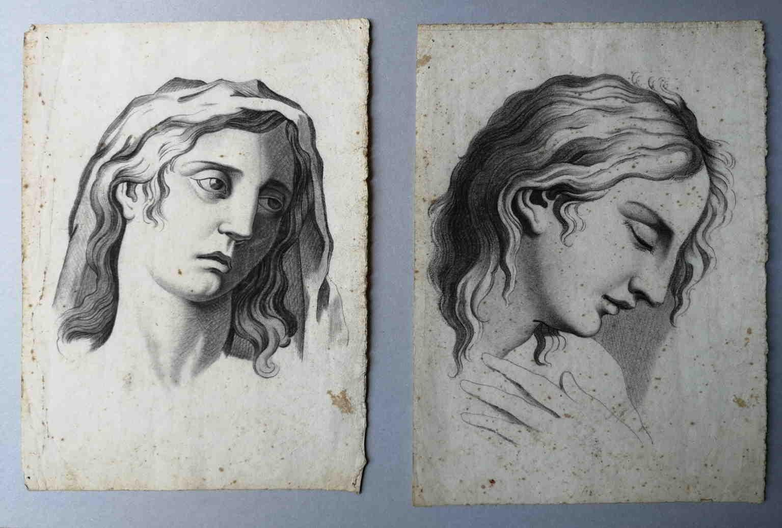 Two Neoclassical Academy portraits 19 century charcoal paper
