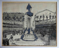 Celebration for the monument of Vittorio Emanuele II, after 1899,  watercolors