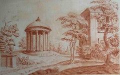 English artist, Romantic garden with a monopteros, early 19th, sanguine on paper