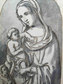 Workshop of Fortunato Duranti, Renaissance style Madonna, 19th, bistre on paper