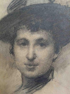 Angelo Dall'Oca Bianca, Lady with an hat, late 19th, pencil on paper, signed