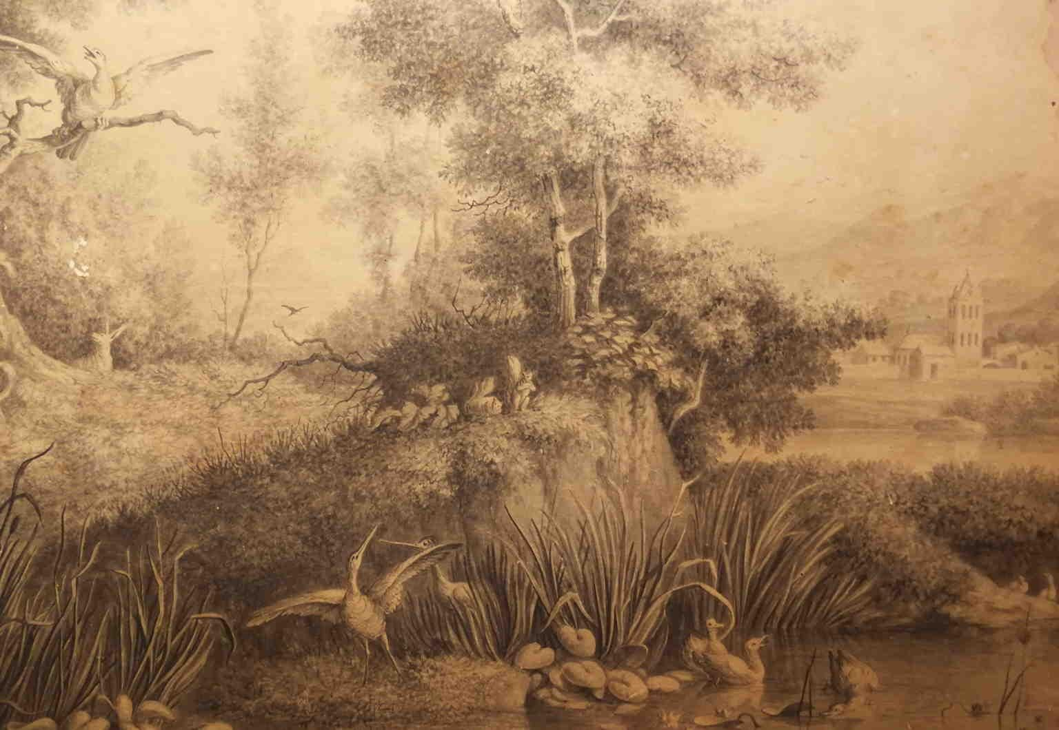 Flemish Artist, Lake with animals, 19th, bistre on paper