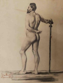 Arturo Banti, Male Nude Accademia, 1876, pencil on paper, signed and dated