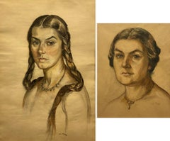 Signed M Frey Surbek Two Female Portraits Drawing 20 century