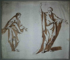 Italian Artist, Two figures (probably Socrates), 1790s, pen and brown ink
