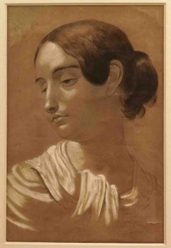 Artist from Lombardy,Female portrait,1852,pencil and chalk on beige paper,dated