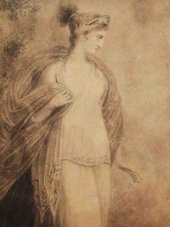 Richard Westall Neoclassical Mythology Drawing 1800s pencil on paper