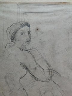Signed Ugo Capocchini  Female Nude Portrait Drawing dated 1938 pencil paper