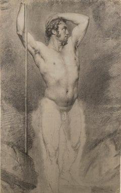 Placido Fabris Male Nude Portrait Drawings 1830s charcoal tempera laid paper