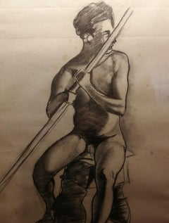 Signed G. ColacicchI Male Nude Portrait Charcoal Drawing dated 1924