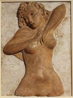 Bruno Innocenti, Female Nude, half of 20 century, plaster on wood, signed