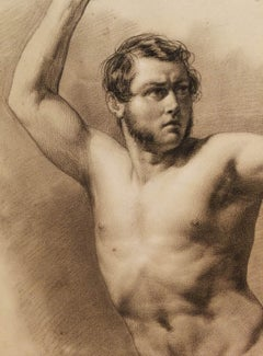 Eliseo Sala, Male Nude Accademia, half 19 century, chalk on paper, signed
