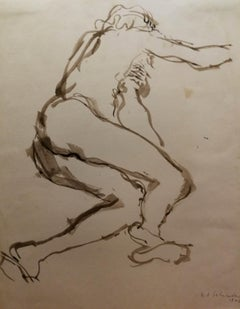 R. A. Salimbeni, Nude, 1942, watercolor ink on paper, signed and dated