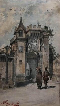 Giulio Bargellini, City Gate, 1890 circa, watercolor on paper, signed
