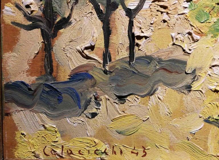 Giovanni Colacicchi, Landscape, 1943, oil on wood - Brown Landscape Painting by Giovanni Colacicchi