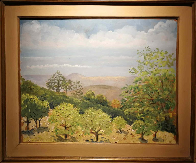 Giovanni Colacicchi, Landscape, 1943, oil on wood - Other Art Style Painting by Giovanni Colacicchi