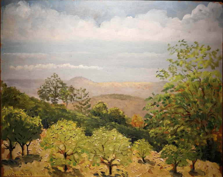 Giovanni Colacicchi, Landscape, 1943, oil on wood - Painting by Giovanni Colacicchi