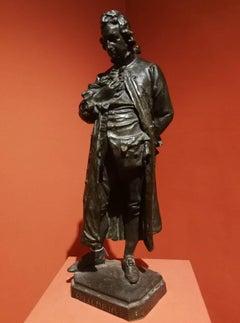 Giuseppe Grandi Cesare Beccaria Potrait Sculpture 1871 bronze signed titled
